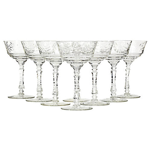 Art Deco Tall Wheel-Cut Coupes, S/8