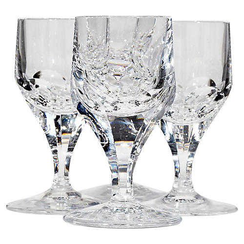 1960s Crystal Glass Cordial Stems, S/4