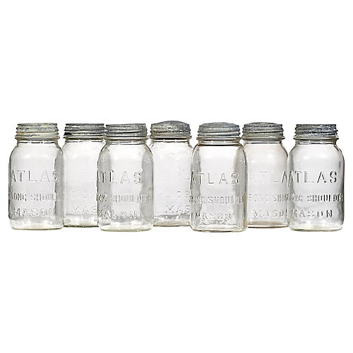 Canning Jars w/ Zinc Screw Tops, S/7