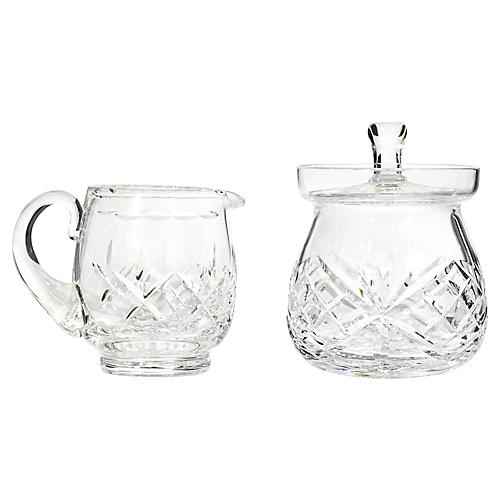 Crystal Glass Sugar & Creamer, Pair