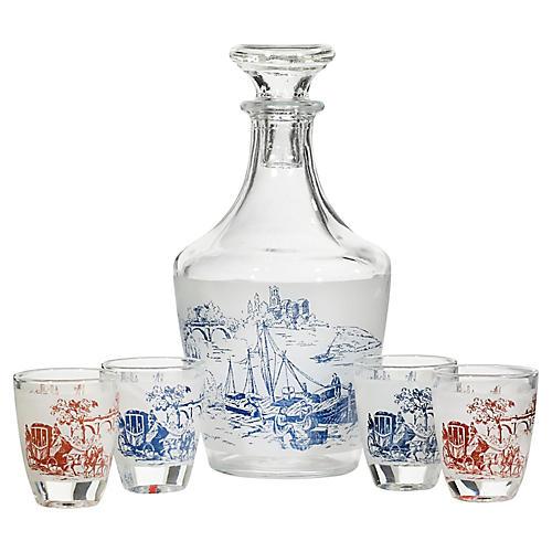 1960s French Glass Decanter Set, 5-Pcs