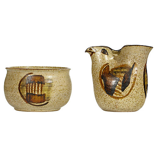 Iceland Pottery Sugar & Creamer Set