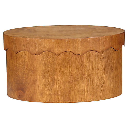 Oval Teak Wood Covered Storage Box