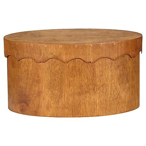 Oval Teak Wood Covered Storage Box