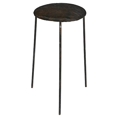 Wrought Iron & Cowhide Seat Stool