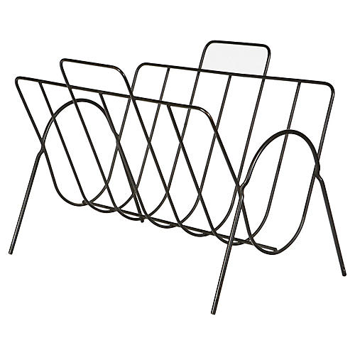 1960s Black Wire Magazine Holder