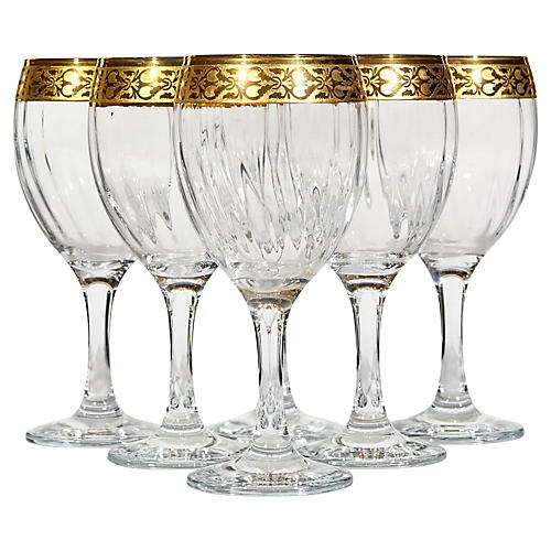 Floral Gilt Rim Murano Wine Stems, S/6