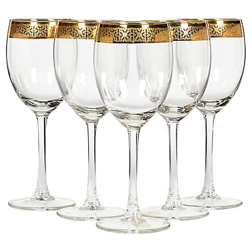 Gilt-Rimmed Wine Stems, S/5