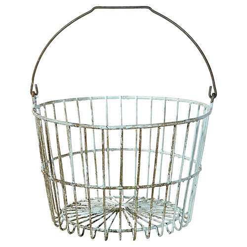 Rustic Metal Handled Basket