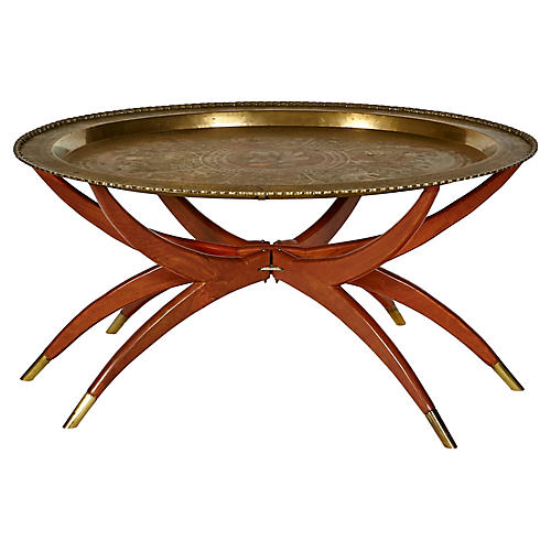 Brass Tray Table on Spider Folding Stand