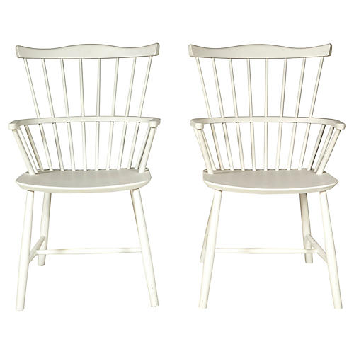 Børge Mogensen White Windsor Chairs, Pr