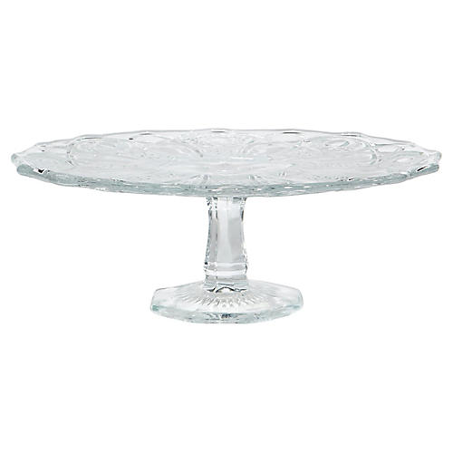 1950s Pressed Glass Cake Stand