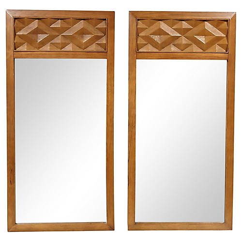 1960s Diamond-Style Wall Mirrors, Pair