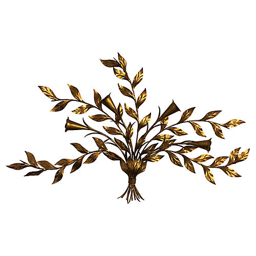 1960s Gilt Metal Floral Wall Sculpture