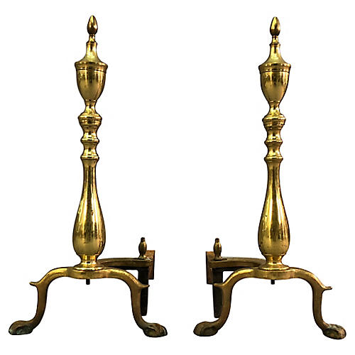 Chippendale-Style Brass Andirons, Pair
