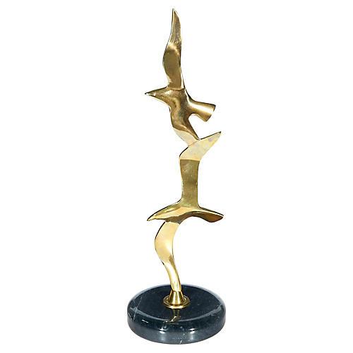 Brass & Marble Seagull Figurine
