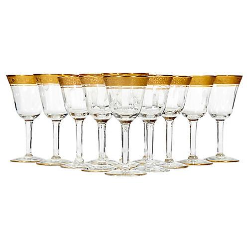 Art Deco Gilt Rim Liqour Stems, S/12