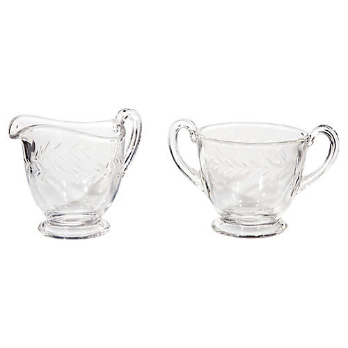 1960s Fostoria Glass Sugar & Creamer Set