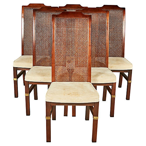 Henredon Caned Dining Room Chairs, S/6