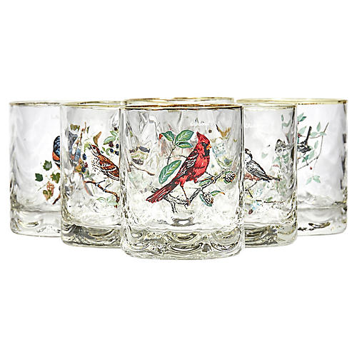1960s Glass Bar Tumblers w/ Birds, S/6