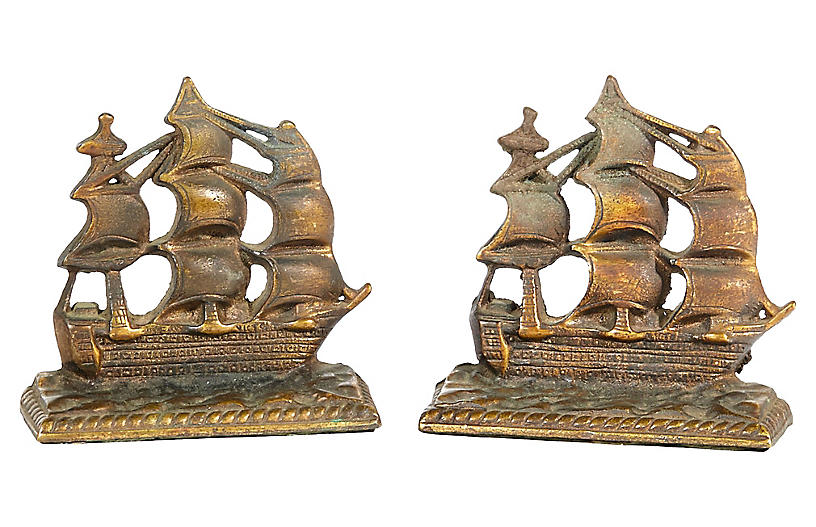 1950s Brass Pirate Ship Bookends, Pair