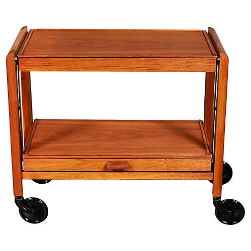 1960s Teak Expandable Rolling Cart