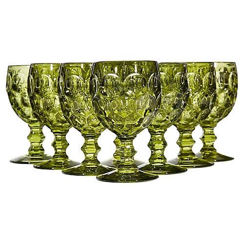 1960s Green Thumbprint Glass Stems, S/8