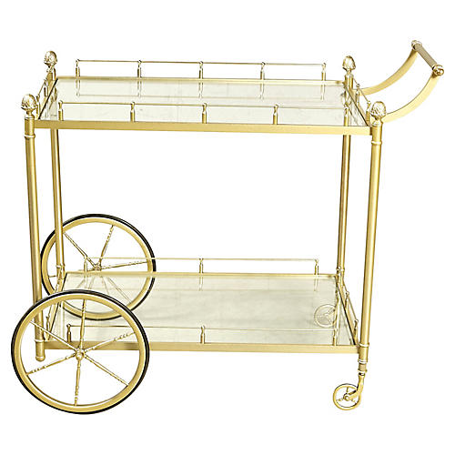 1960s Brass & Glass Rolling Service Cart