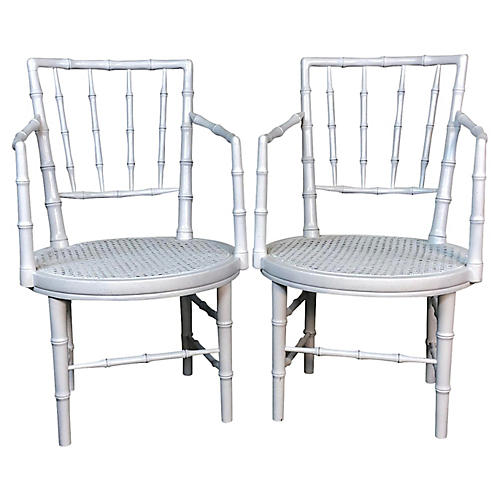 Faux Bamboo White Campaign Chairs, Pr