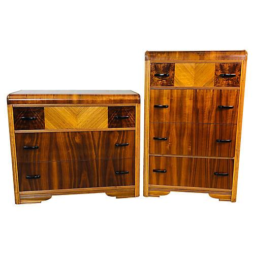 Art Deco Waterfall Dressers, Pair