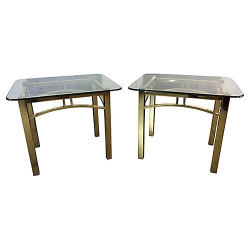 Hollywood Regency-Style Brass Tables, Pr