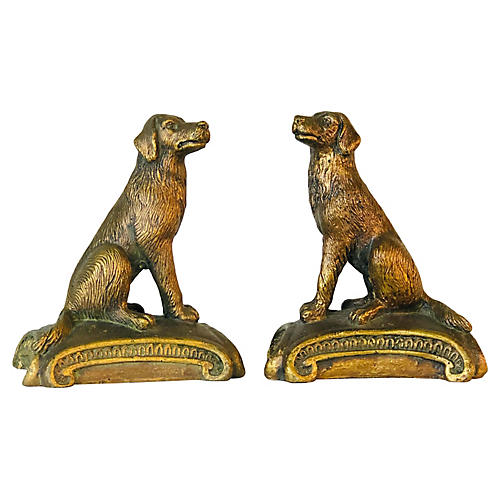 1960s Gold Wood Sitting Dog Bookends, Pr