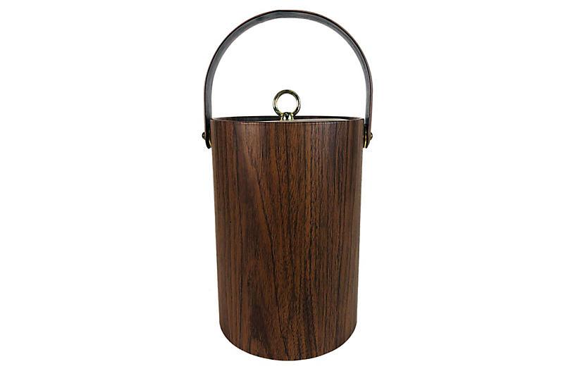 1960s Vinyl Faux-Wood Handled Ice Bucket