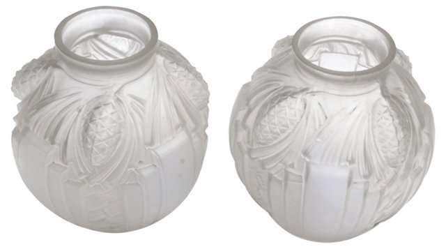 Frosted Art Glass Vases, Pair