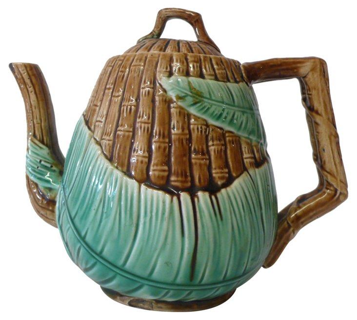 19th-C. Majolica Teapot