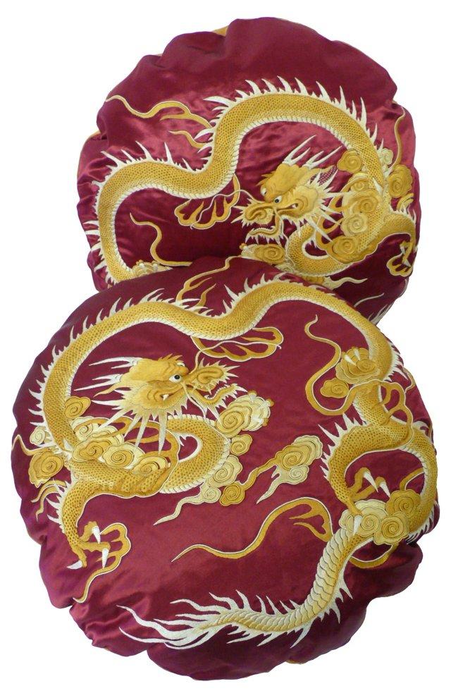 Pillows w/  Silk Dragon Textile, Pair
