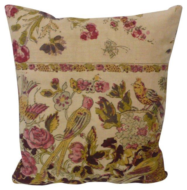 French Birds & Flowers Pillow
