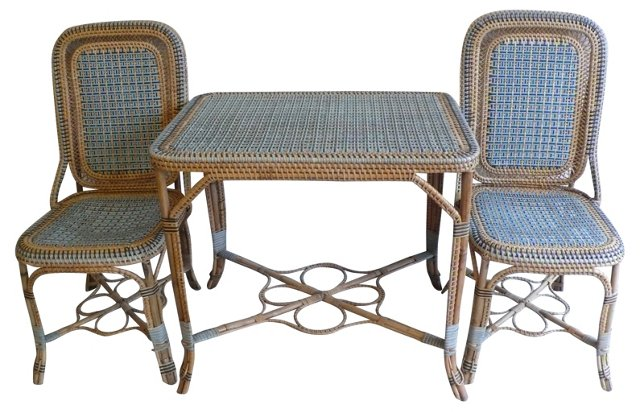 19th-C. French Wicker Table &  2 Chairs