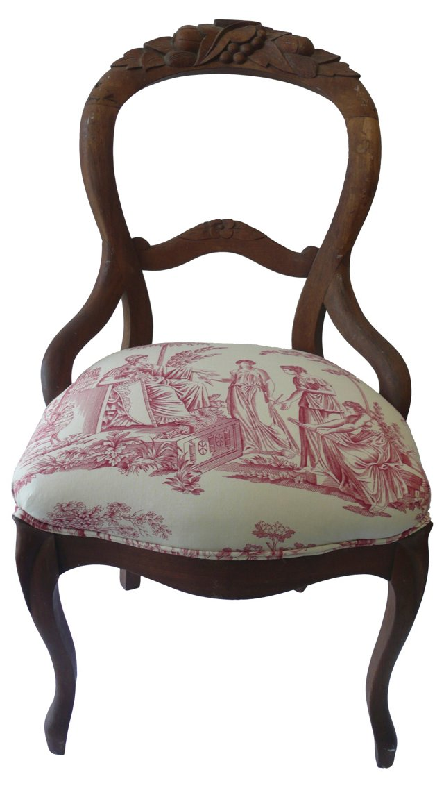 19th-C. French Toile Chair