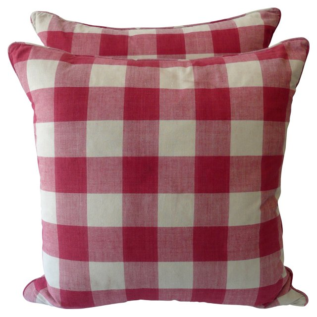 Red &  White Check  Pillows, Pair