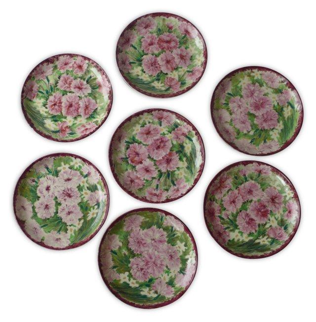 Italian Plates w/ Floral Motif, S/7