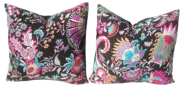 Indian Kantha Pillows, Pair