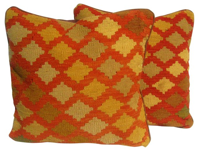 Turkish  Kilim Textile Pillows,   Pair