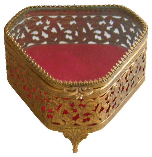 Filigree & Beveled   Glass Jewelry Box
