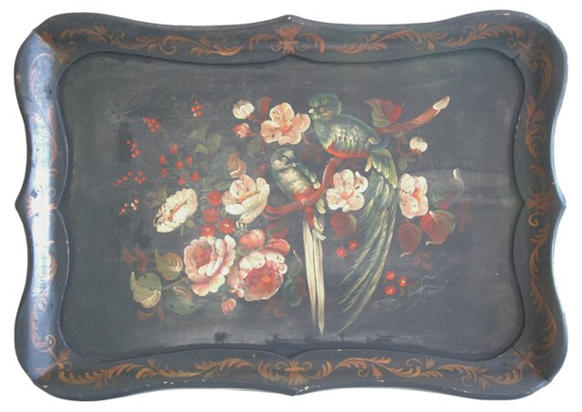 1930s Hand-Painted Floral Tray