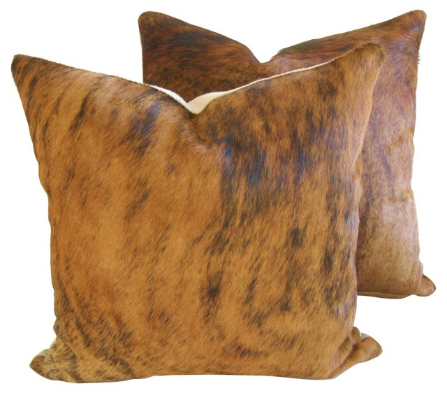 Brindle-Colored Cowhide Pillows, Pair