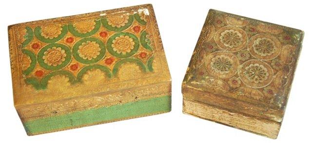 Florentine Gilt Boxes, Pair