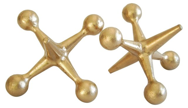 Gold Metallic Cast Iron Jacks, Pair