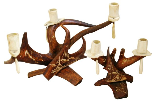 1950s Caribou Antler Candleholders, Pair