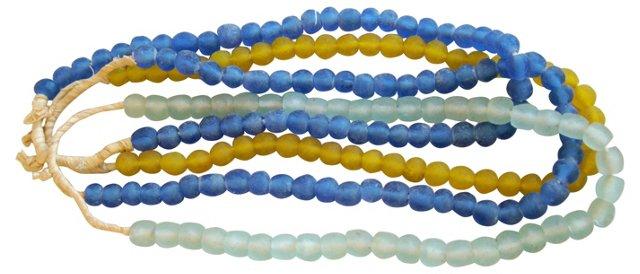 Blue, Gold & Teal Sea Glass, 4 Strands